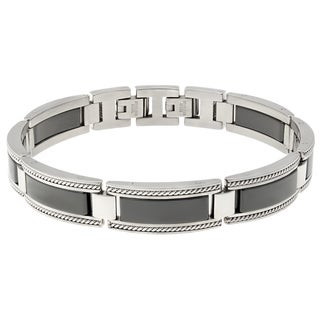 Men's Stainless Steel Black Ceramic Link Bracelet