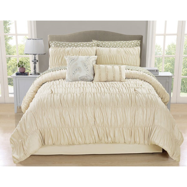 Greyson Ivory Ruched 10-piece Comforter Set