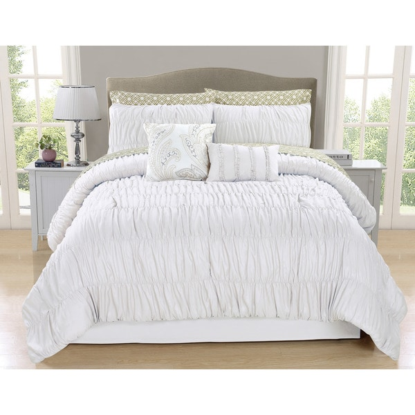 Greyson White Ruched 10-piece Comforter Set