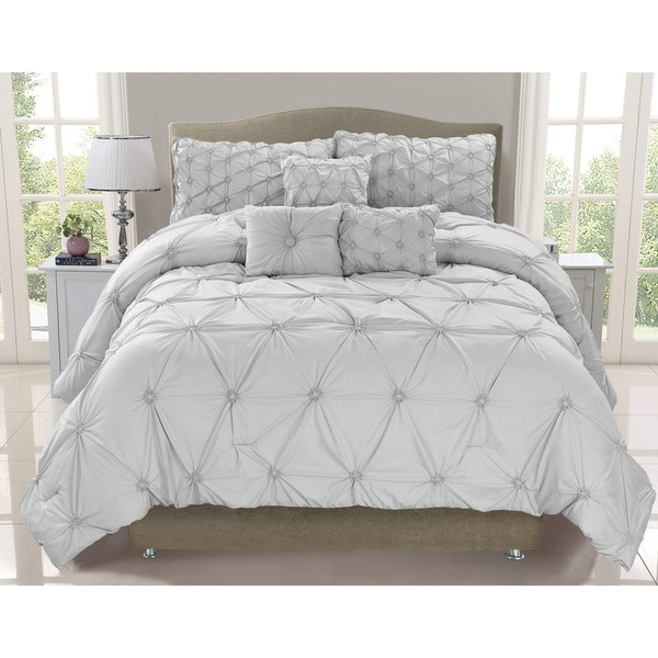 Cosmo Silver Mist Smocked 6-piece Comforter Set