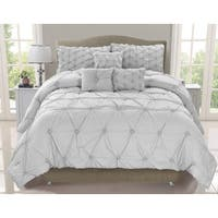 Cosmo Silver Mist Smocked  6-piece Comforter Set