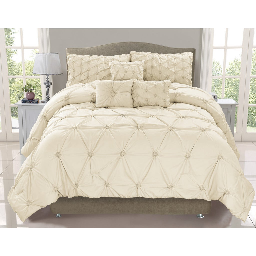 Cosmo Ivory Smocked 6-piece Comforter Set (King), Beige O...