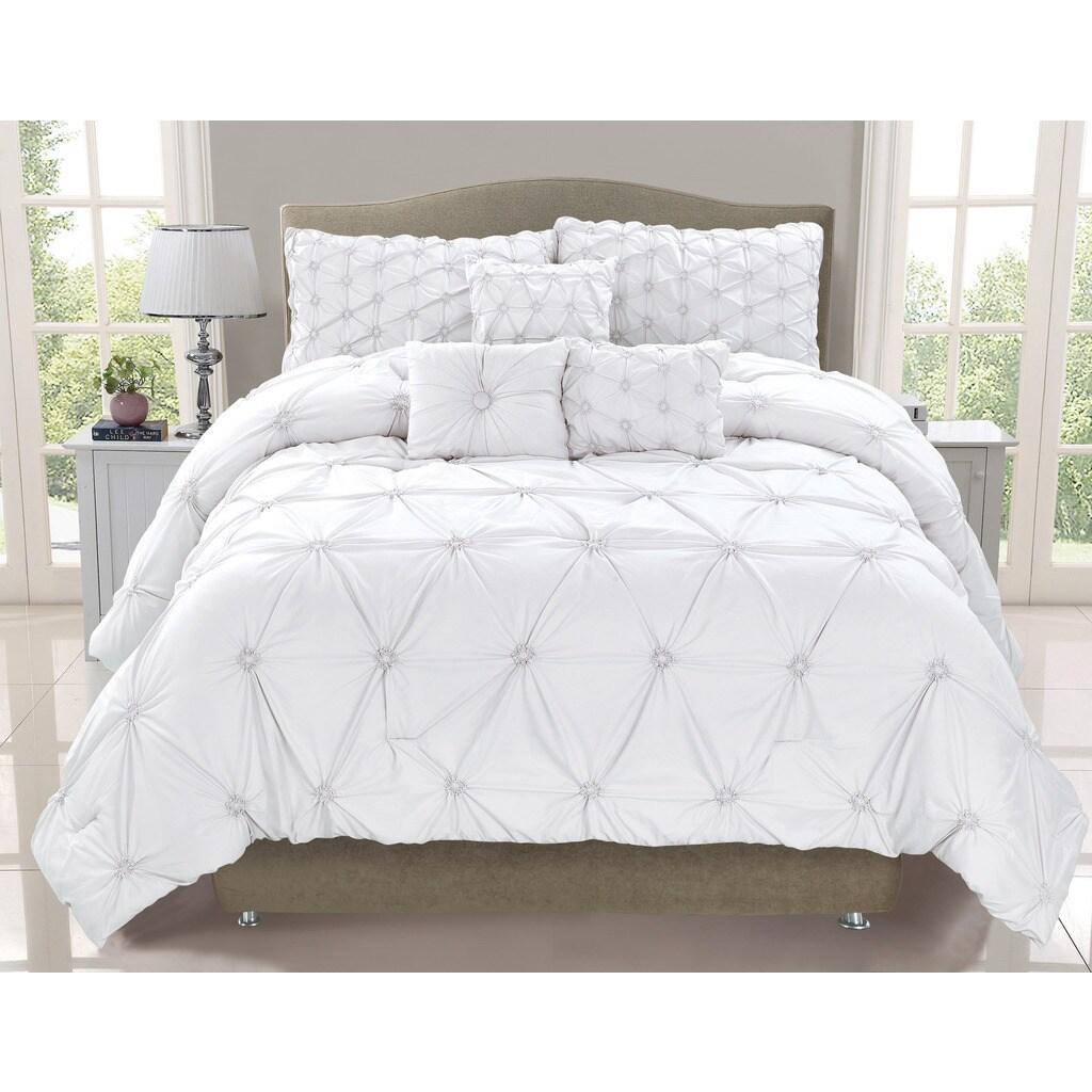 Cosmo White Smocked 6-piece Comforter Set (King) (Polyest...