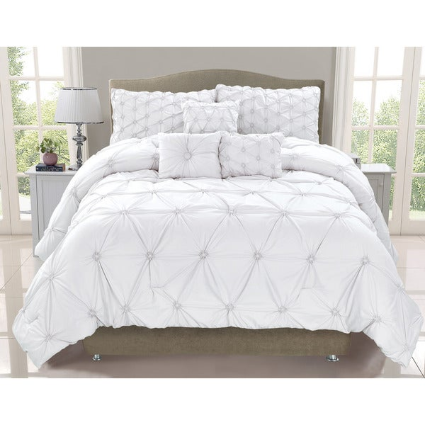 Cosmo White Smocked 6 Piece Comforter Set Free Shipping Today Overstock C