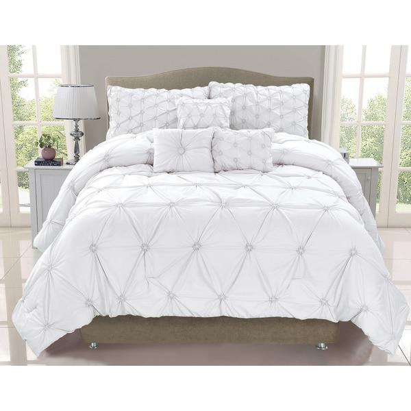 Cosmo White Smocked 6-piece Comforter Set