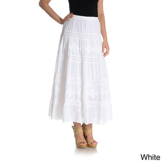 La Cera Women's Embroidery Detail Peasant Skirt