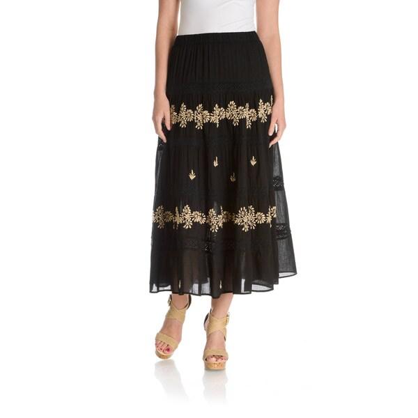 La Cera Women's Embroidery Detail Peasant Skirt