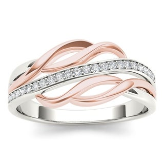 De Couer 10k Pink Two-Tone White Gold 1/10ct TDW Diamond Fashion Ring (H-I, I2)