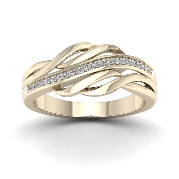 De Couer 10k Yellow Two-tone White Gold 1/10ct TDW Diamond Fashion Ring - Multi