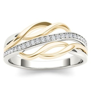 De Couer 10k Yellow Two-tone White Gold 1/10ct TDW Diamond Fashion Ring (H-I, I2)