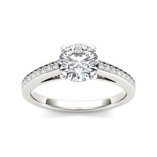De Couer 14k White Gold 1 1/5ct TDW Diamond Classic Engagement Ring - White H-I