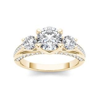 De Couer 14k Yellow Gold 1 3/4ct TDW Diamond Three-Stone Anniversary Ring