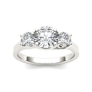 De Couer 14k White Gold 1 1/2ct TDW Diamond Three-Stone Anniversary Ring
