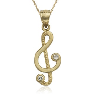 10k Yellow Gold Cubic Zirconia Treble Clef 16-inch Necklace