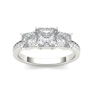 De Couer 14k White Gold 2ct TDW Diamond Three-Stone Anniversary Ring - White H-I