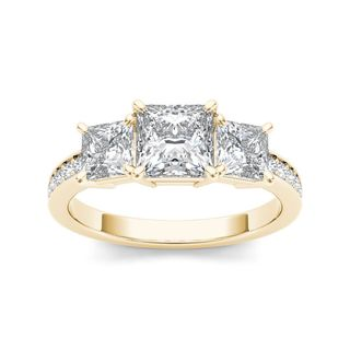 De Couer 14k Yellow Gold 2ct TDW Diamond Three-Stone Anniversary Ring