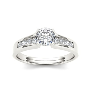 De Couer 14k White Gold 3/4 TDW Diamond Classic Engagement Ring - White H-I