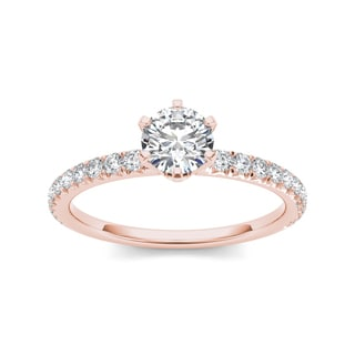 De Couer 14k Rose Gold 1 1/4ct TDW Diamond Classic Engagement Ring - Pink