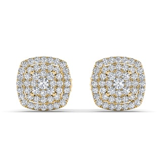 De Couer 10k Yellow Gold 1/3ct TDW Diamond Halo Stud Earring