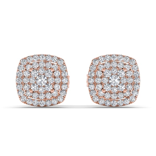 De Couer 10k Rose Gold 1/3ct TDW Diamond Halo Stud Earring - Pink