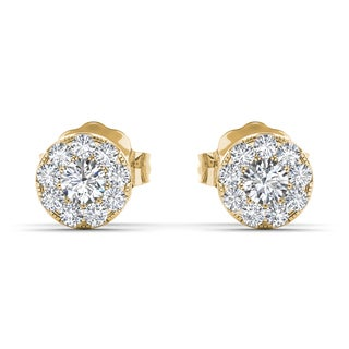 De Couer 10k Yellow Gold 1/3ct TDW Diamond Cluster Stud Earring (H-I, I2)