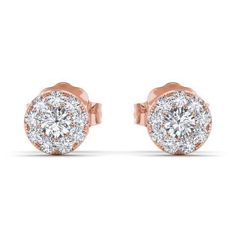 De Couer IGI Certified 10k Rose Gold 1/3ct TDW Diamond Cluster Stud Earring - Pink