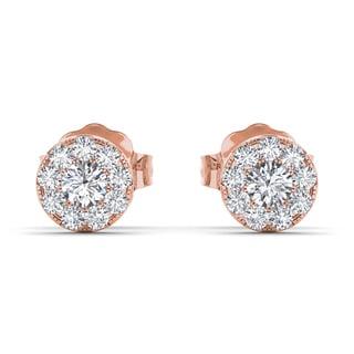 De Couer 10k Rose Gold 1/3ct TDW Diamond Cluster Stud Earring