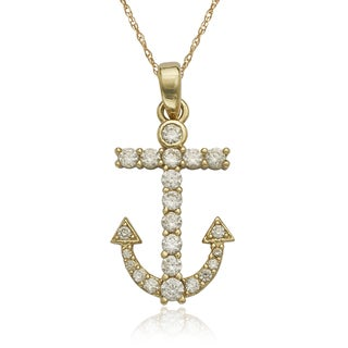 10k Yellow Gold Cubic Zirconia Anchor 16-inch Necklace