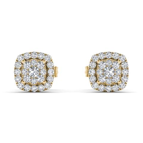 De Couer IGI Certified 10k Yellow Gold 1/4ct TDW Diamond Halo Cluster Earring