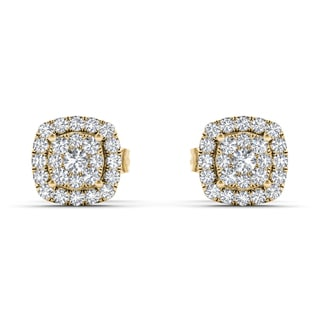 De Couer 10k Yellow Gold 1/4ct TDW Diamond Halo Cluster Earring (H-I, I2)