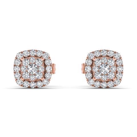 De Couer IGI Certified 10k Rose Gold 1/4ct TDW Diamond Halo Cluster Earring - Pink