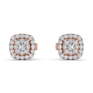 De Couer 10k Rose Gold 1/4ct TDW Diamond Halo Cluster Earring - Pink