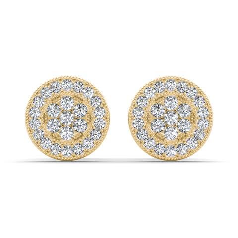 De Couer IGI Certified 10k Yellow Gold 1/8ct TDW Diamond Cluster Earring