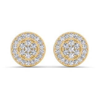 De Couer 10k Yellow Gold 1/8ct TDW Diamond Cluster Earring (H-I, I2)