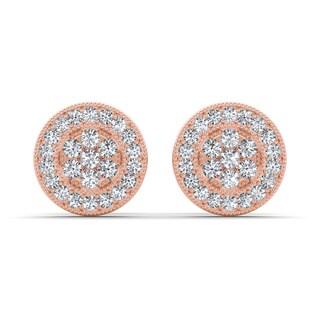 De Couer 10k Rose Gold 1/8ct TDW Diamond Cluster Earring (H-I, I2)