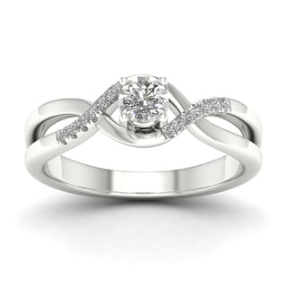 De Couer 10k White Gold 1/20ct TDW Diamond Criss-Cross Engagement Ring - White H-I