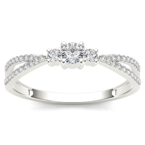 De Couer IGI Certified 10k White Gold 1/4ct TDW Diamond Three-Stone Anniversary Ring - White H-I