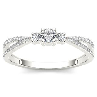 De Couer 10k White Gold 1/4ct TDW Diamond Bypass Cluster Engagement Ring