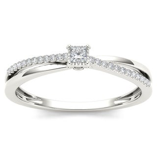 De Couer 10k White Gold 1/8ct TDW Diamond Split-Shank Engagement Ring (H-I, I2)