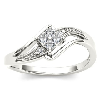 De Couer 10k White Gold 1/10ct TDW Diamond Bypass Engagement Ring