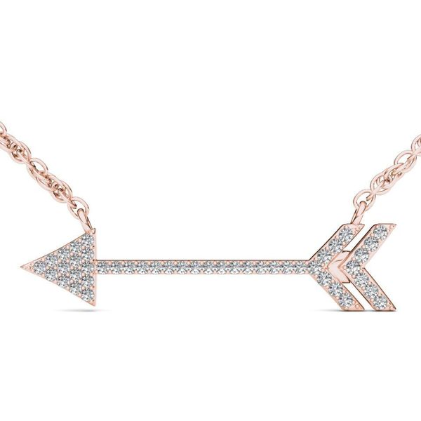 De Couer 10k Rose Gold 1/8ct TDW Diamond Arrow-Shaped Necklace - Pink