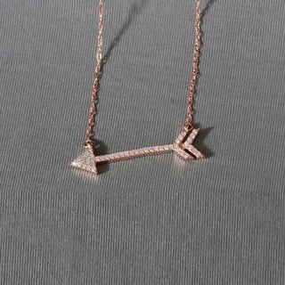 De Couer 10k Rose Gold 1 8ct TDW Diamond Arrow Shaped Necklace Pink