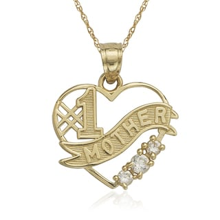 10k Yellow Gold Cubic Zirconia Number-1 Mother Heart Charm 16-inch Necklace