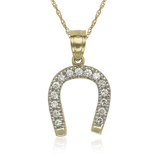 10k Yellow Gold Cubic Zirconia Horseshoe 16-inch Necklace