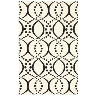 Rizzy Home Volare Collection Hand-tufted Geometric Wool White/ Black Rug (9' x 12')