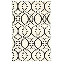 Rizzy Home Volare Collection Hand-tufted Geometric Wool White/ Black Rug (8' x 10')