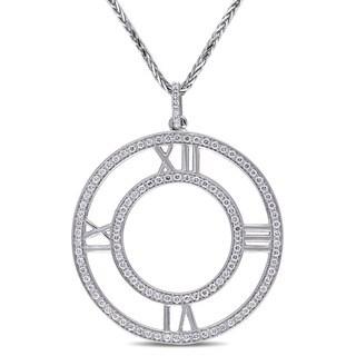 Miadora Signature Collection 18k White Gold 5/8ct TDW Diamond Circle Necklace