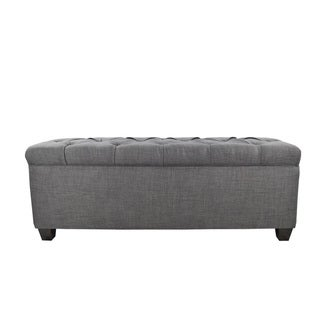 The Sole Secret Grey-Red Tint Diamond Tufted Shoe Storage Bench