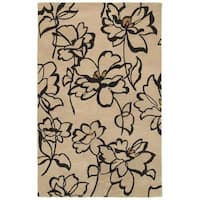 Rizzy Home Volare Collection Hand-tufted Floral Wool Beige/ Black Rug (8' x 10')
