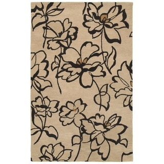 Rizzy Home Volare Collection Hand-tufted Floral Wool Beige/ Black Rug (3' x 5')